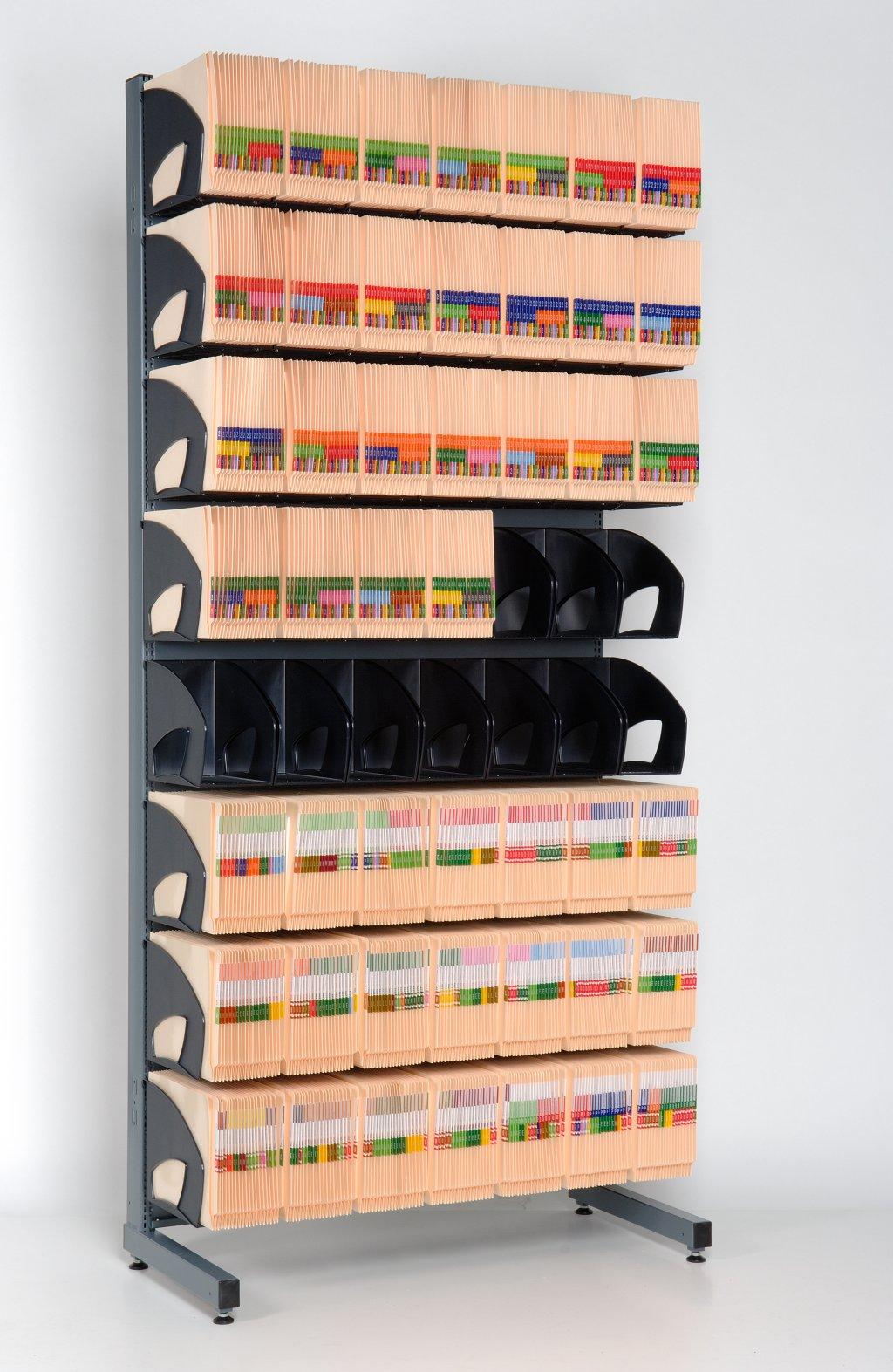 Orga-Rack archiefrek met 8 rijen Orga-Boxen binnen bereikbare hoogte